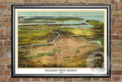 Vintage Newark, NJ Map 1916 - Historic New Jersey Art - Old Victorian Industrial