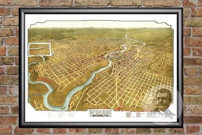 Vintage Spokane, WA Map 1905 - Historic Washington Art Old Victorian Industrial