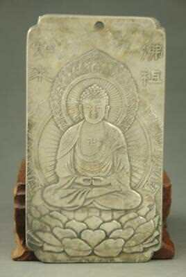 Chinese  Old Tibet silver carving tathagata  statue Amulet periapt Pendant