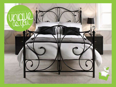 Contemporary Metal Bed frame Crystal Finials  4ft6 Double 5ft King Bed  New