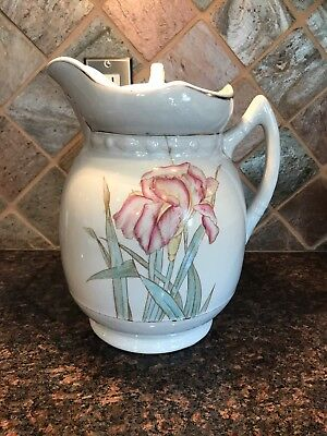 Vintage Wash Stand Pottery Pitcher With Lid