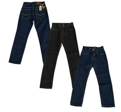 Designer Boys Indigo Blue Black Jeans Denim Trouser 2 - 15 Yrs Adjustable Waist