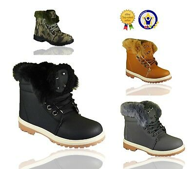 Girls Ankle Boots Kids Boys Fur Lined Grip Sole Army Combat Winter Snow Shoes