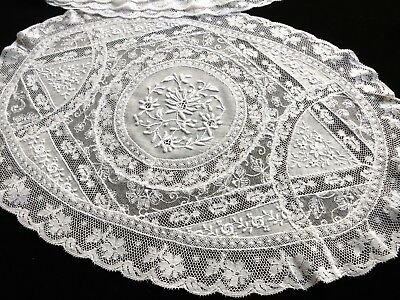 OVAL Antique Set 8 Placemats FRENCH NORMANDY LACE Wedding Bridal Excellent