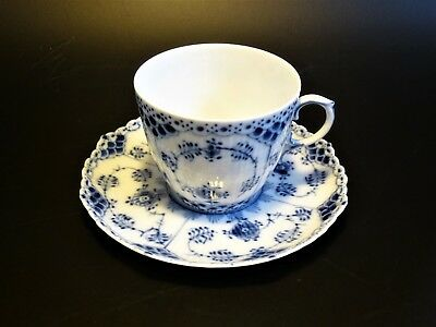 Royal Copenhagen blue fluted full lace cup and saucer  Nr. 1035  Factory first