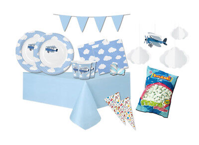IRPot - KIT N 51 ADDOBBI FESTA BABY SHOWER LITTLE PLANE NASCITA + MARSHMALLOW