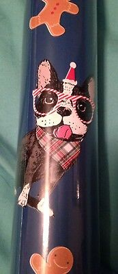 Boston terrier wrapping paper Christmas Holiday paper REVERSIBLE see last pic