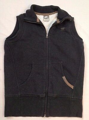 NIKE GRAY FLEECE VEST Womens MEDIUM 8 - 10 OUTDOOR EUC zippered front
