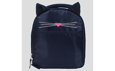 NEW Lunch bag sack ARE YOU KITTEN ME Navy Blue Cat / whisker