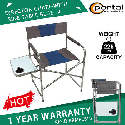 Portable Folding Camping Director S Chair With Side Table Outdoor 225lbs Blue