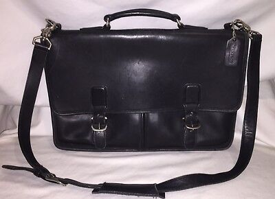 Vintage Coach Black Leather Briefcase W/ Long Strap Made In USA VGUC