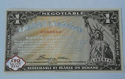 Series 1998 American Liberty Currency Silver Warehouse Receipt  $1.00 NORFED CU