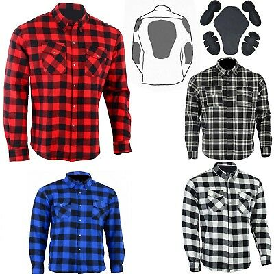 Motorcycle Cotton Flannel Lumberjack DuPont™ KEVLAR® Shirt with CE armour BLKRED