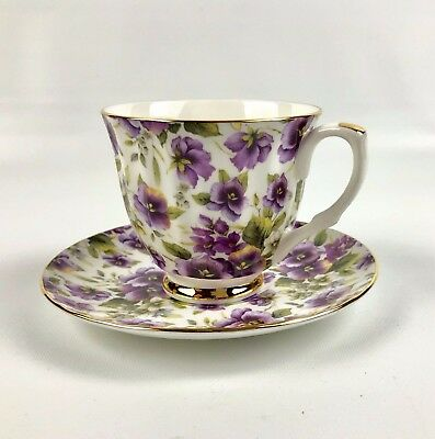 Mayfair Staffordshire Tea Cup and Saucer England Fine Bone China Purple Pansies