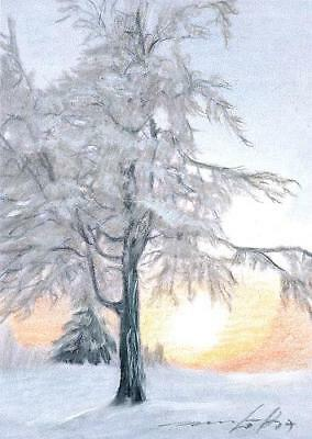 ACEO original pastel drawing landscape winter snow sunset  by Anna Hoff
