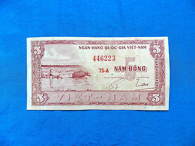 1955 South Vietnam 5 Dong Banknote *P-13a*       *F-VF*