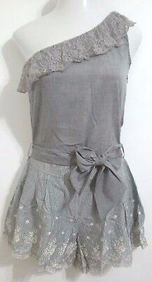6af333004aee NEW Nick   Moe Anthropology One Shoulder Romper Shorts Grey Women Size  Medium