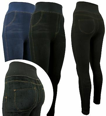Damen Thermo- Leggings Teddyfutter - Jeans Optik - hohes Hosenteil breiter Bund