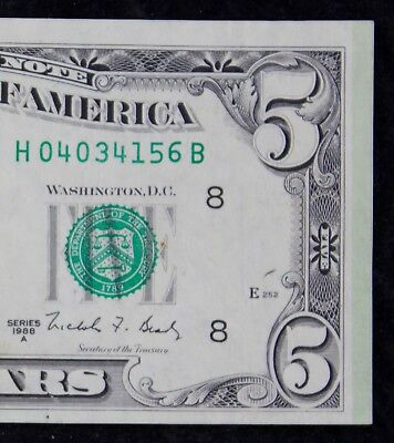 $5 1988A Green End of Roll Marker Error Federal Reserve Note H04034156B FREESHIP