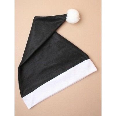 NEW Adults Black and White santa hat fancy dress Christmas stocking party