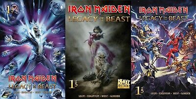 Iron Maiden Legacy of the Beast #1 Cover A B C 3 Comic Book Set Heavy Metal NM