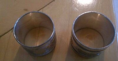 Pair Of Antique/ Vintage Victorian Ornate Silver Plate Napkin Rings. No Markings