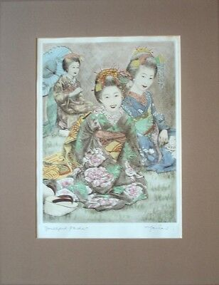 WIlly Seiler hand colored etching, mid 20c Japan,limited ed.framed, listed
