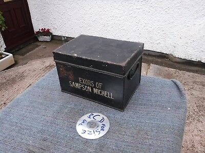 VINTAGE  METAL  DEED  BOX. EXORS of SAMPSON MICHELL.  FREE  DELIVERY.