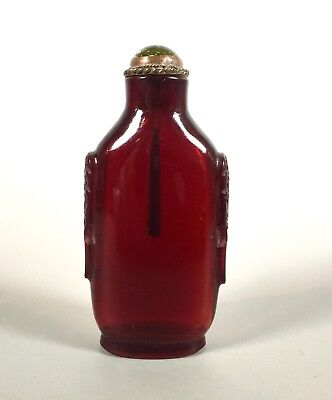 Red Ruby Glass Snuff Bottle carved w/ mask handles authentic Qing Dynasty