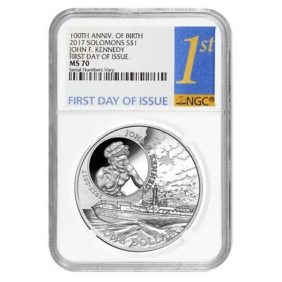 2017 1 oz Silver JFK Solomon Islands NGC MS 70 FDOI First Day of Issue