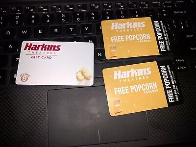 $105 Harkins Theatres Gift Card with 2 free medium popcorn vouchers
