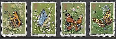 GB Stamps 1981, Butterflies, set of 4 VFU from FDC