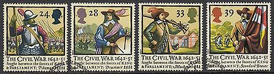 GB Stamps 1992, 350th Anniversary of The Civil War, set of 4 VFU from FDC
