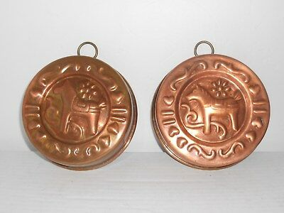 Pair of Antique Copper Cake / Jelly Mold Round Swedish Dala Horse - Tin Lined