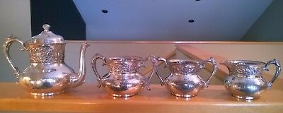 Forbes Silver Co. Quadruple Plated Tea Set. 4 Pieces. Pattern Number 174