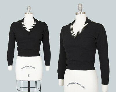 Vintage 1950s Sweater 50s Knit Wool Cashmere Striped Cropped Black Pin Up Top