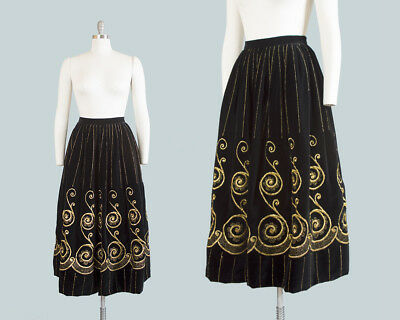 Vintage 1970s Skirt 70s ADOLFO Black Velvet Metallic Gold Striped Border Print