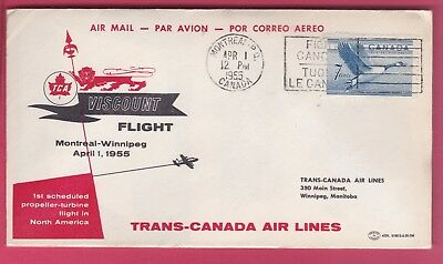 Canada #320 on First Flight Cover.Trans-Canada Air Lines. April 1 1955
