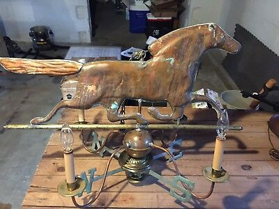 "Huge 32""L Antique Solid Copper Running Horse Westhervane Made Into A Chandelier!"
