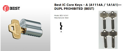 Best IC Core Keys - A (1A1A1)—DUPL PROHIBITED (BEST) - Set of Four OEM