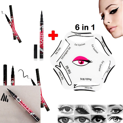 6 in 1 Eyeliner Stencil Set Makeup Guide Quick Cat Eye Liner Tool Liquid UK+PEN