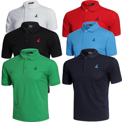 Mens Polo Shirt Plain Short Sleeve Designer Pique Collar Golf T-Shirt Top New