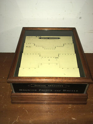 "Vintage ""norton Abrasives"" Mounted Points & Wheels Wood & Glass Display Case"