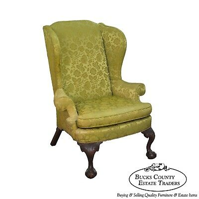 Chippendale Style Custom 1920s Mahogany Ball & Claw Foot Wing Chair