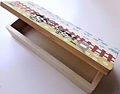 Hand Made Wood Box/ Pencil Case  Crafts   Hand Paint Antique Vintage Old Design
