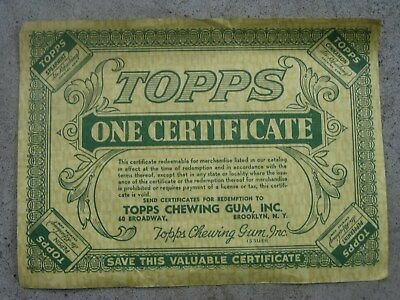 1940's TOPPS CHEWING GUM Co. ONE CENT Certificate Premium COUPON