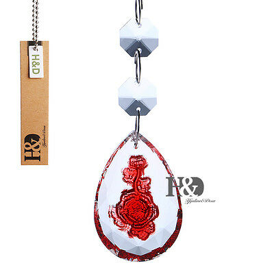 Hanging Beads Drops Carved Red Rose Prisms Crystal Lighting Chandelier Lamp Part