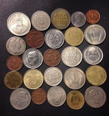Old Colombia Coin Lot - 1945-Present - 25 Great Coins - Lot #D14