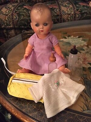 1950s Ideal Betsy Wetsy Doll 12 Pat. 225207 & Original Betsy Wetsy Accessories