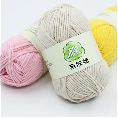 New Hand Knitting Wool cashmere Soft baby cotton yarn Skein lot Chunky 46 Colors